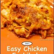 graphic for Pinterest for chicken enchilada casserole
