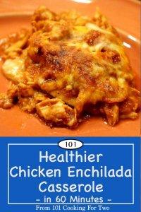 image for Pinterest of healthier chicken enchiladas