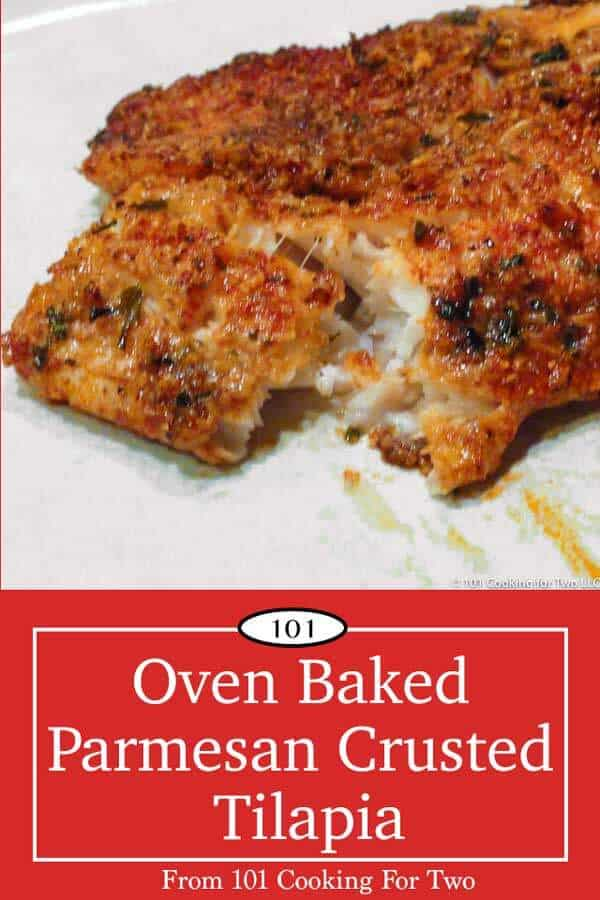 This easy oven baked Parmesan crusted tilapia is just wonderful with a crispy flavorful Parmesan crust from only a few everyday ingredients. #Tilapia #BakedTilapia #ParmesanCrustedTilapia #BakedFish