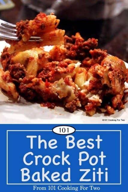 Image for Pinterest of Crock Pot Baked Ziti