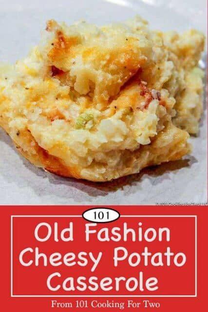 image for Pinterest of cheesy potato casserole