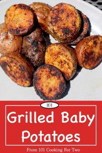 Image for Pinterest of Grilled Baby Potatoes