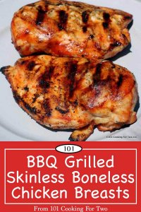image for Pinterest of Grilled BBQ Skinless Boneless Chicken Breasts