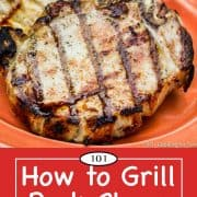 Graphic for Pinterest for grilled pork chops