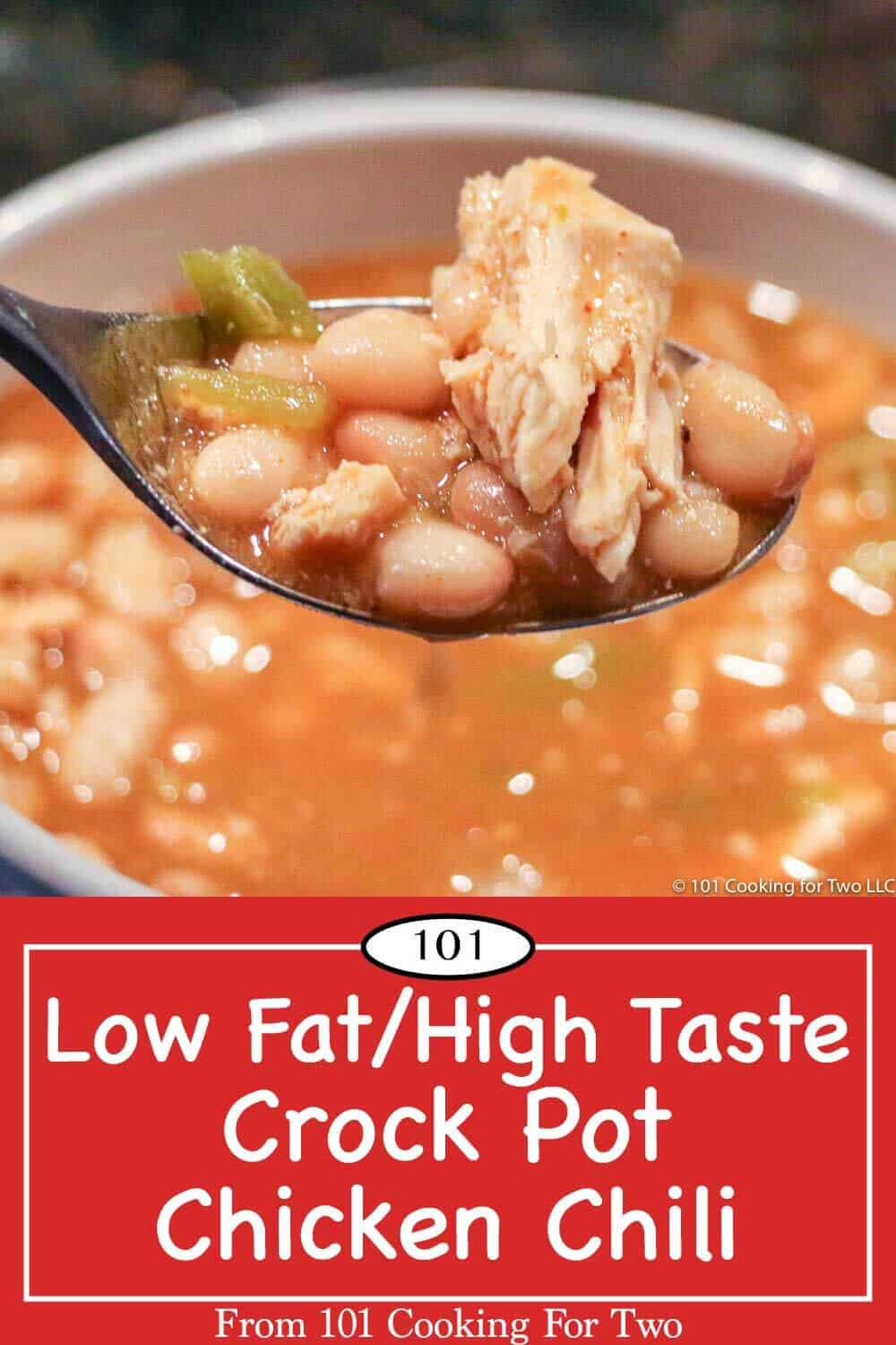 Great tasting healthy crock pot white chicken chili with only about 250 calories and 2 gram of fat per serving. Just follow these easy step by step photo instructions. No pre-cooking the chicken here. #ChickenChili #CrockPotChickenChili #HealthyChickenChili #LowFatChickenChili