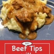 image for Pinterest of Beef Tips with Gravy