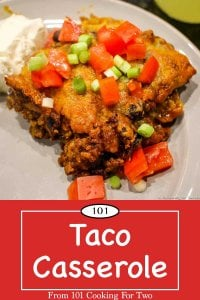 Graphic for Pinterest of Taco Casserole