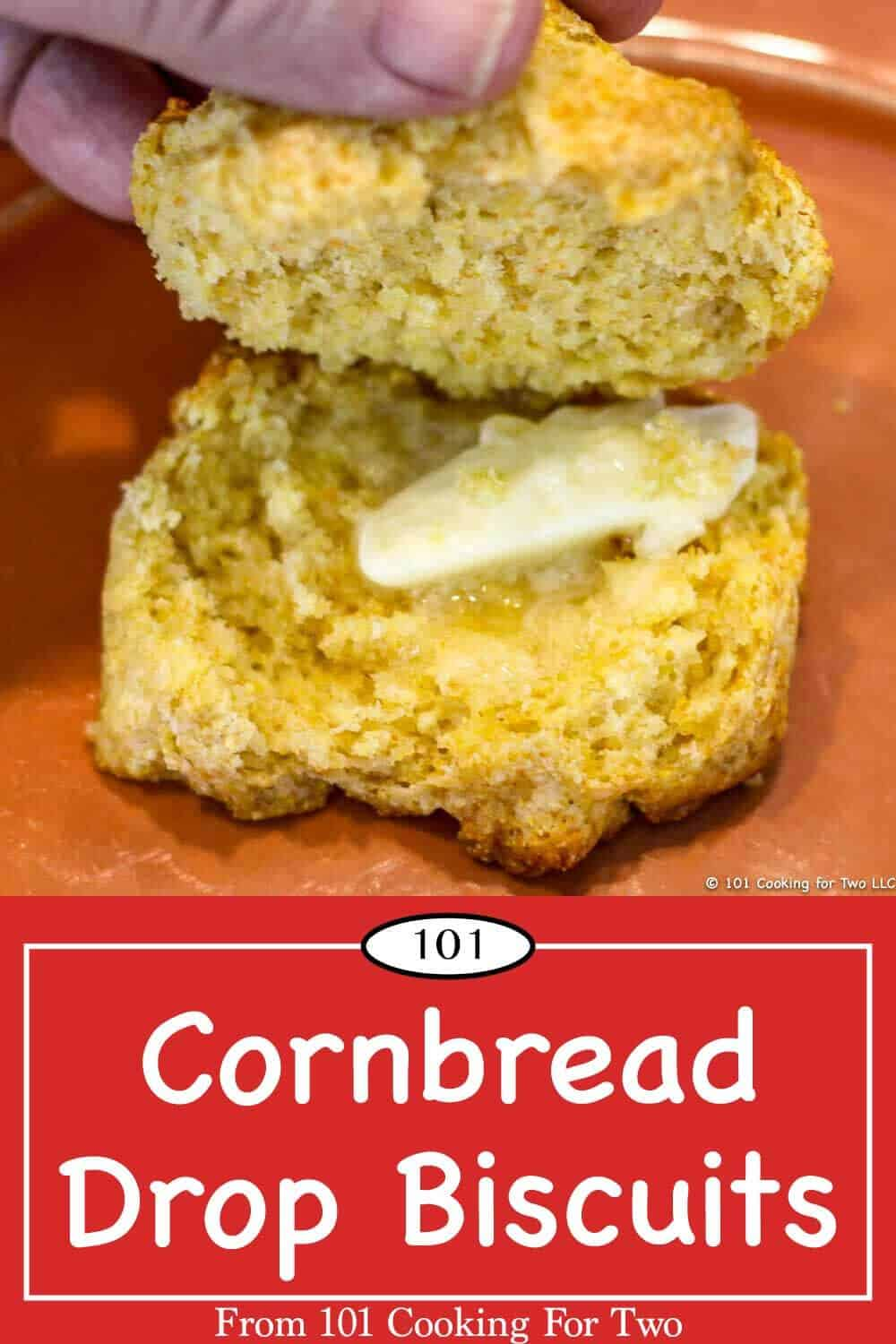 The great taste of cornbread with the ease and speed of drop biscuits. Just follow these easy step by step photo instructions. Perfect for chili, soups or other comfort foods. #CornbreadBiscuits #CornmealBiscuits #Cornbread