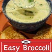 Graphic for Pinterest for Broccoli Cheese Soup