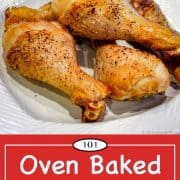 graphic for Pinterest of baked chicken legs.