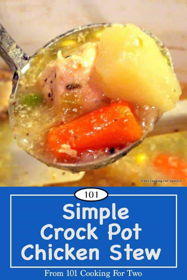 The idea of a crock pot is to make your life easier. Not much is easier than this family-pleasing stew. eat in 8 hours. #stew #crockpotstew #chickenstew