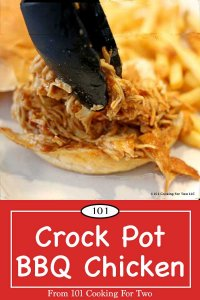 image for Pinterest of crock pot shredded BBQ chicken on a bun