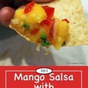 image for pinterest of pineapple mango salsa