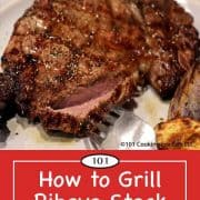 image for Pinterest of grilled rib eye steak