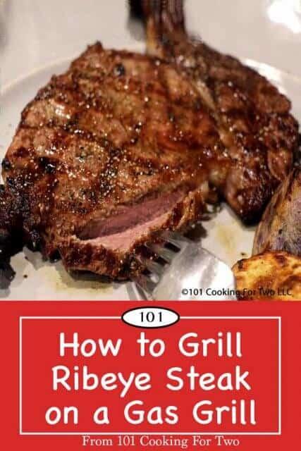image for Pinterest of grilled rib eye steak