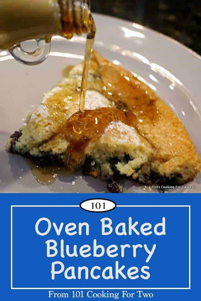Are you pancake impaired? Or just don't want the mess? Try this foolproof method for great pancakes. Super easy, just mix and bake. No skill needed. #pancakes #OvenPancakes #BakedPancakes #DutchBaby #blueberry