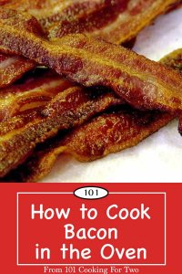 Image for Pinterest of oven baked bacon