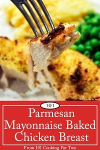 Graphic for pinterest of Parmesan Mayonnaise Baked Chicken Breast