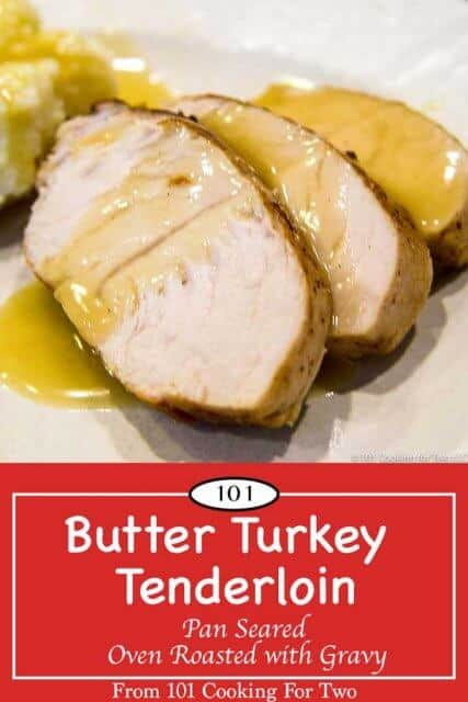 Image for pinterest of butter turkey tenderloin