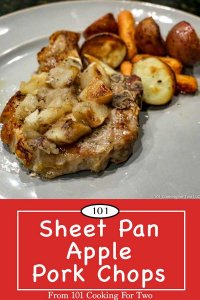 image for Pinterest of sheet pan apple pork chops