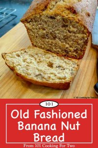 Graphic for Pinterest of Banana Nut Bread.
