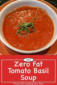 Image for Pinterest of tomato basil soup