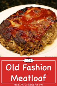 Graphic for Pinterest of whole meatloaf