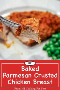Image for pinterest of Baked Parmesan Crusted Skinless Boneless Chicken Breasts