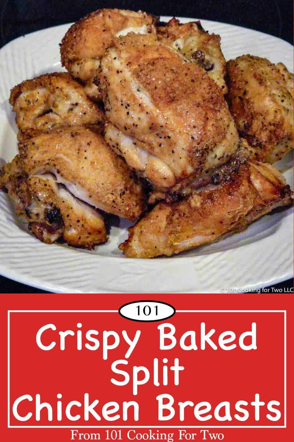 Learn the secret to great tasting, moist, and crispy baked split chicken breasts. Just follow these easy step by step photo instructions to get it right first time and every time. #SplitChickenBreast #SkinOnChickenBreast #BoneInChickenBreast #BakedChickenBreast #CrispyChicken