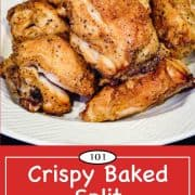 graphic for Pinterest of baked split chicken breasts