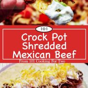 graphic for Pinterest for Crock Pot Mexican Shredded Beef