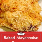 Pinterest graphic for Oven Baked Mayonnaise Parmesan Split Chicken Breast