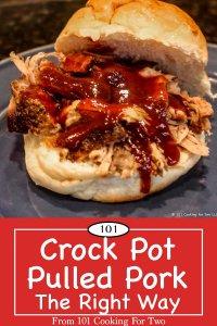 Graphic for Pinterest of crock pot pulled pork