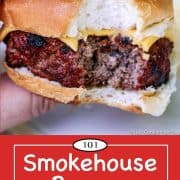 graphic for Pinterest of a smoked hamburger
