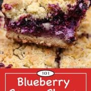 Graphic for Pinterest of Blueberry Cream Cheese Bars