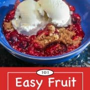 graphic for Pinterest of fruit crumble