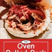 graphic for Pinterest of oven pulled pork
