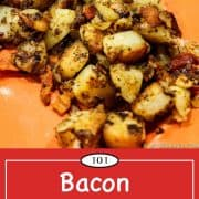 graphic for Pinterest of bacon American fries