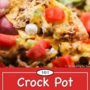 graphic for Pinterest of fiesta chicken nacho
