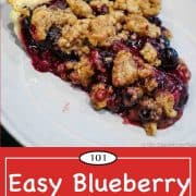 Graphic for Pinterest of blueberry pie