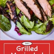 Graphic for Pinterest of Grilled marinated flank steak