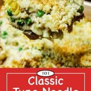 graphic for Pinterest of tuna noodle casserole