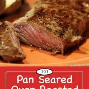 Graphic for Pinterest of strip steak