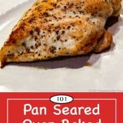 Graphic for Pinterest of pan seard chicken breast