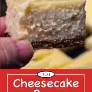 graphic for pinterest of cheesecake bars