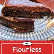 graphic for Pinterest for flourless chocolate cake