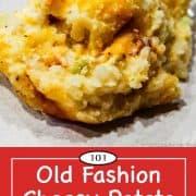 graphic for Pinterest of cheesy potato casserole