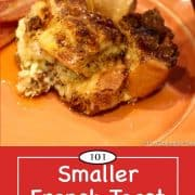 Graphic for Pinterest of French toast casserole