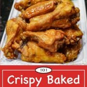 graphic for Pinterest of baked chicken wings