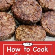graphic for Pinterest for baking sausage